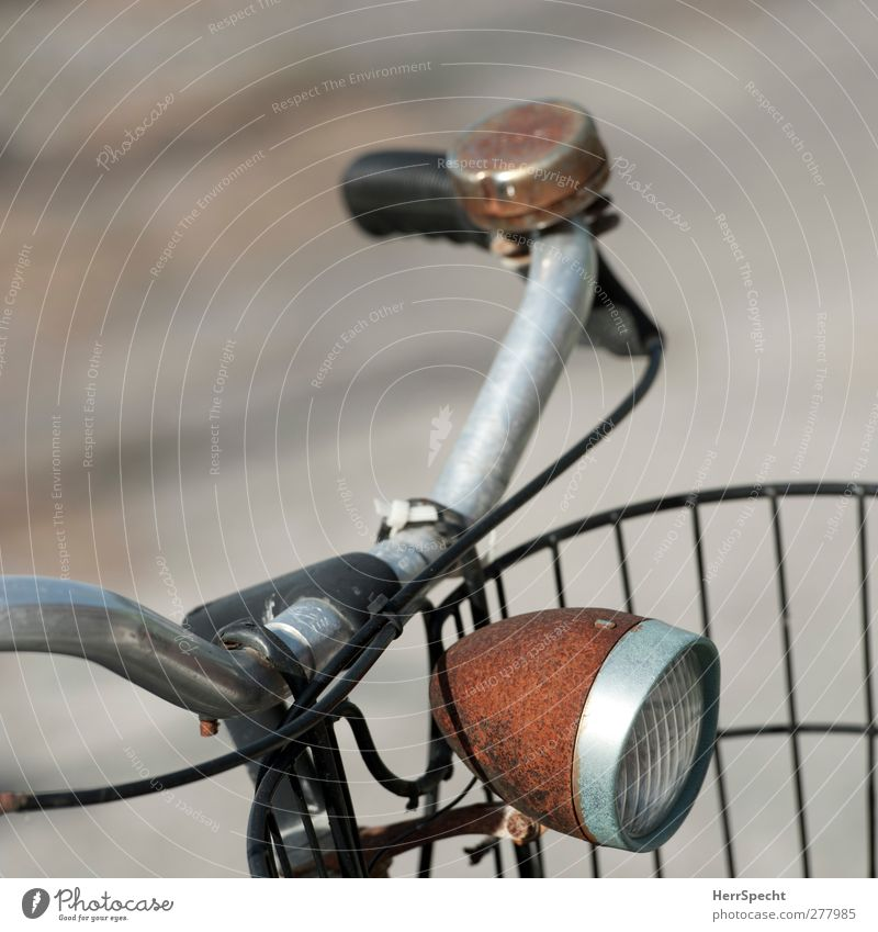 rust light Bicycle Old Brown Black Bicycle handlebars Light Floodlight Rust Bicycle bell Colour photo Subdued colour Exterior shot Deserted Copy Space left Blur