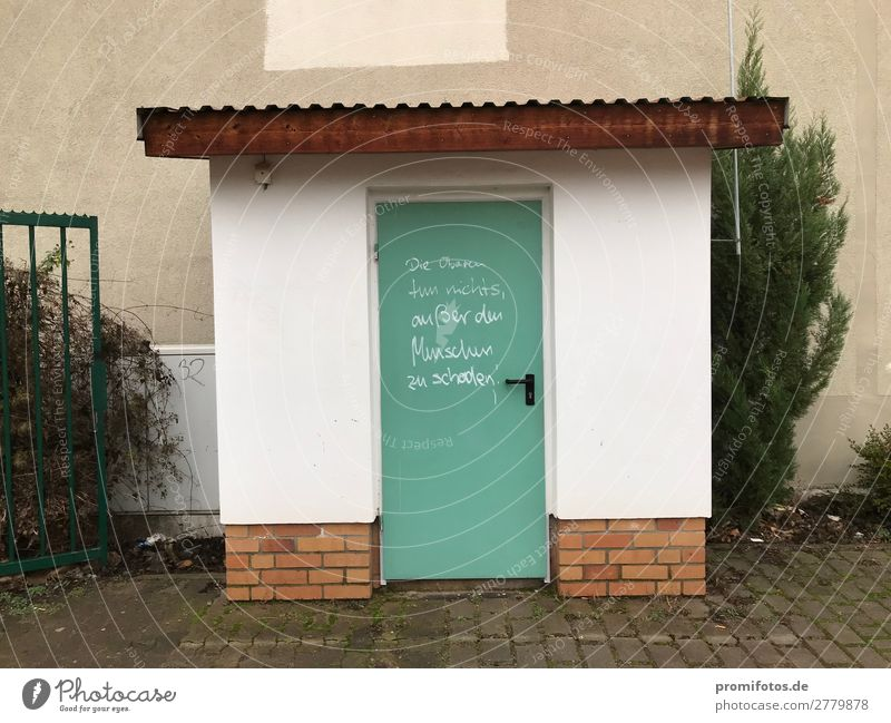 Green door / Soziale Gerechtigkeit Economy Unemployment House (Residential Structure) Wall (barrier) Wall (building) Door Metal Sign Graffiti Poverty