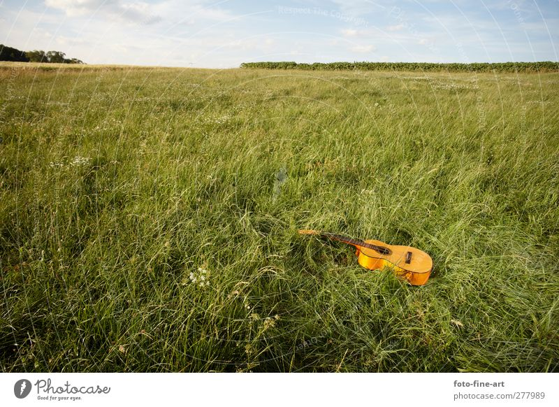 guitar Lifestyle Leisure and hobbies Playing Entertainment Music Nature Emotions Contentment Joie de vivre (Vitality) Sound Guitar Field Forget Broken Lonely