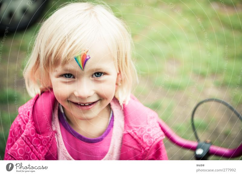 Human being Child Summer Joy Girl Face Hair and hairstyles Laughter Small Head Blonde Infancy Pink Leisure and hobbies Happiness Stand