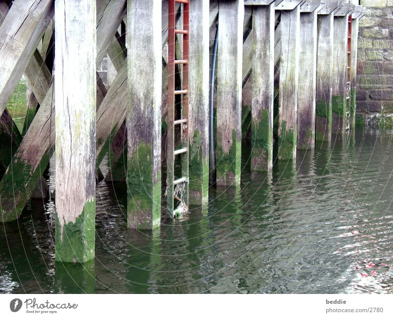footbridge Footbridge Drop anchor Watercraft Wood Algae Historic