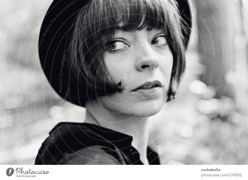 woman with hat Feminine Woman Adults 1 Human being 18 - 30 years Youth (Young adults) Black-haired Brunette Short-haired Elegant Uniqueness Black & white photo