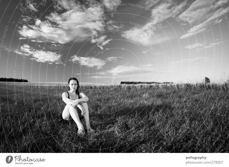 Sitting, Waiting, Wishing Human being Feminine Young woman Youth (Young adults) Woman Adults Life 1 18 - 30 years Nature Landscape Plant Sky Clouds Horizon