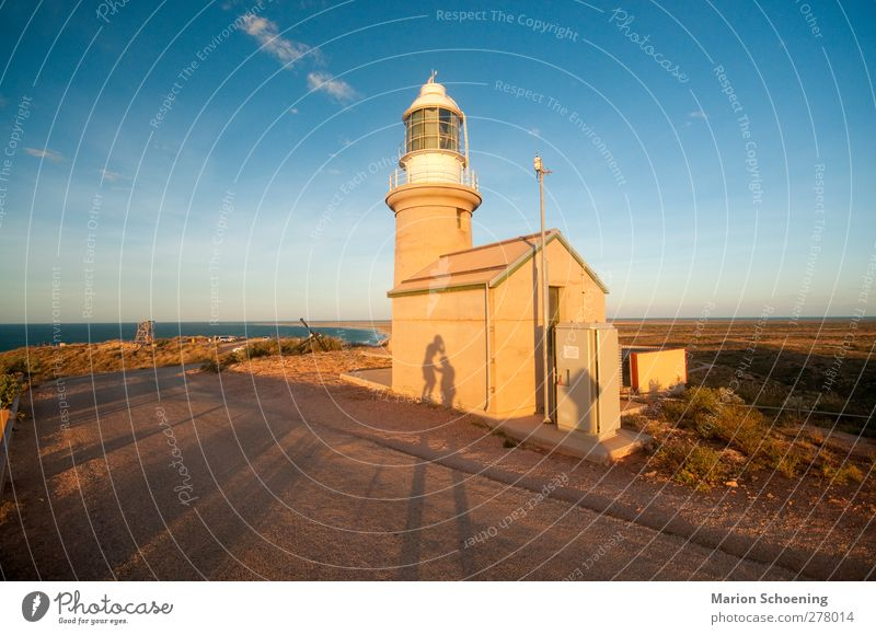 lighthouse Freedom Summer vacation Sun Hill Rock Coast Lighthouse Touch Brown Yellow Authentic Whimsical Australia Sunset Shadow play Colour photo Exterior shot