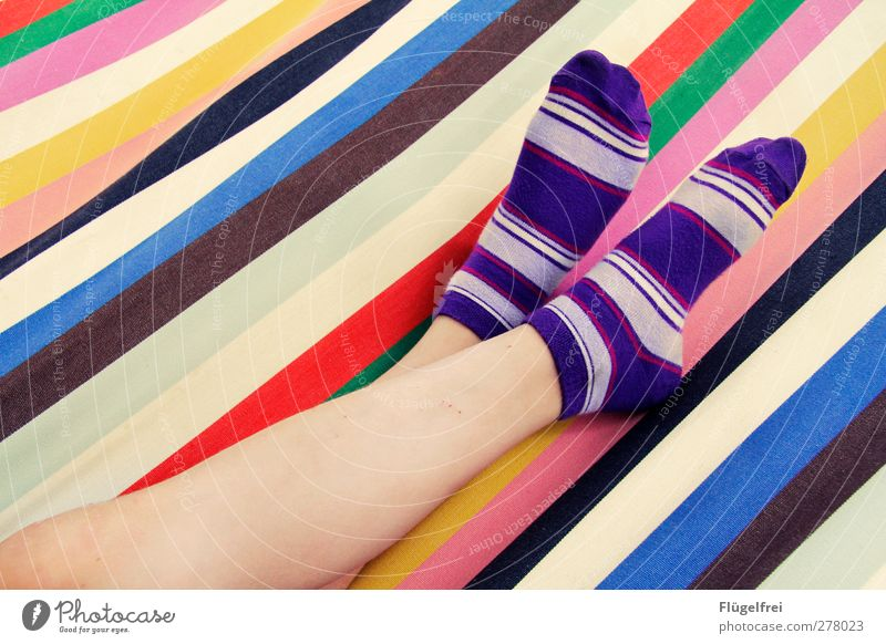 Striped hammock summer day dream Child Feet 1 Human being Stockings Relaxation To enjoy Happiness Fresh Positive Happy Indifferent Comfortable Lie Hammock