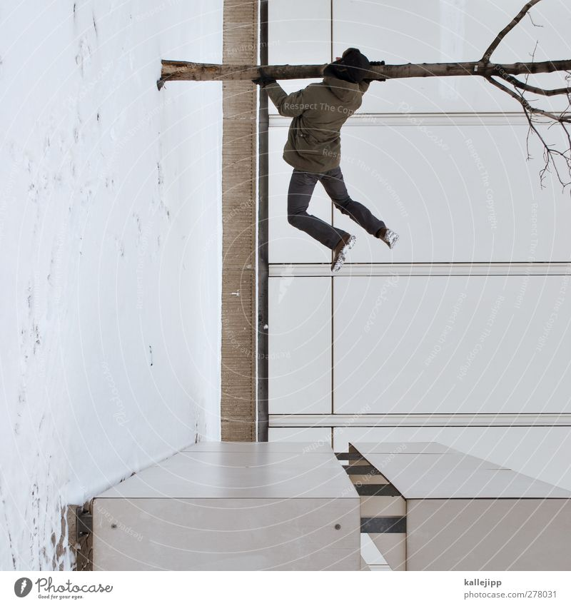 winter residues House (Residential Structure) 1 Human being To hold on Hang Jump Tree trunk Distorted Winter Cap Colour photo Subdued colour Exterior shot Light