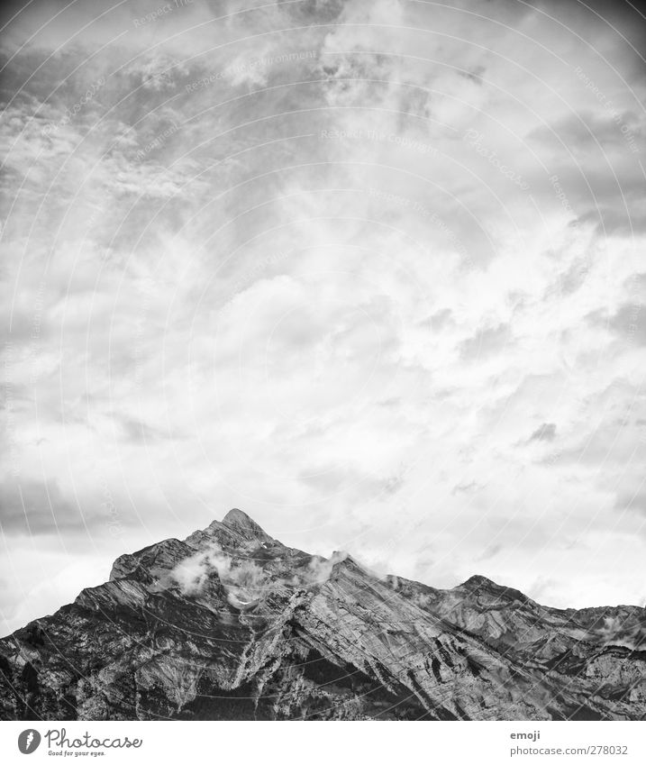 drawing Environment Nature Sky Clouds Climate Weather Rock Alps Mountain Peak Exceptional Threat Dark Black & white photo Exterior shot Deserted Copy Space top