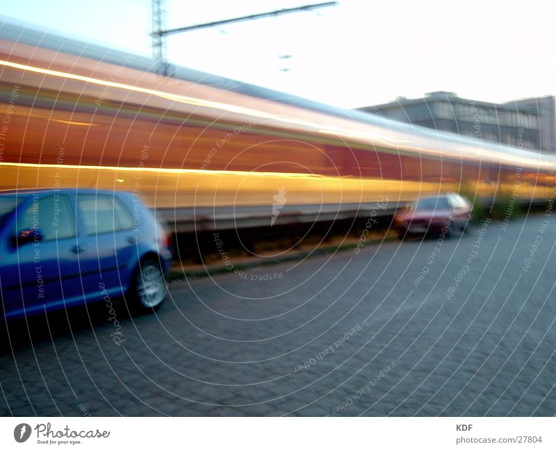 movement Long exposure Railroad Bremen Light Yellow Red Places Evening Car Germany Sky db KDF Train station