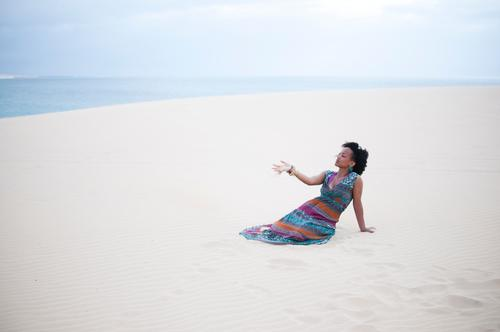 Human being Nature Youth (Young adults) Water Vacation & Travel Summer Sun Ocean Beach Landscape Far-off places Environment Feminine Young woman Freedom Sand