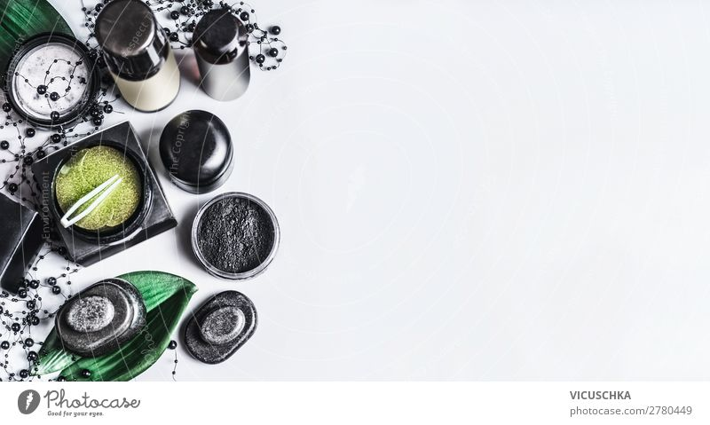 Black and Green Natural Cosmetics Products Shopping Style Design Beautiful Skin Face Cream Healthy Fashion Background picture eye patch activated carbon Coal