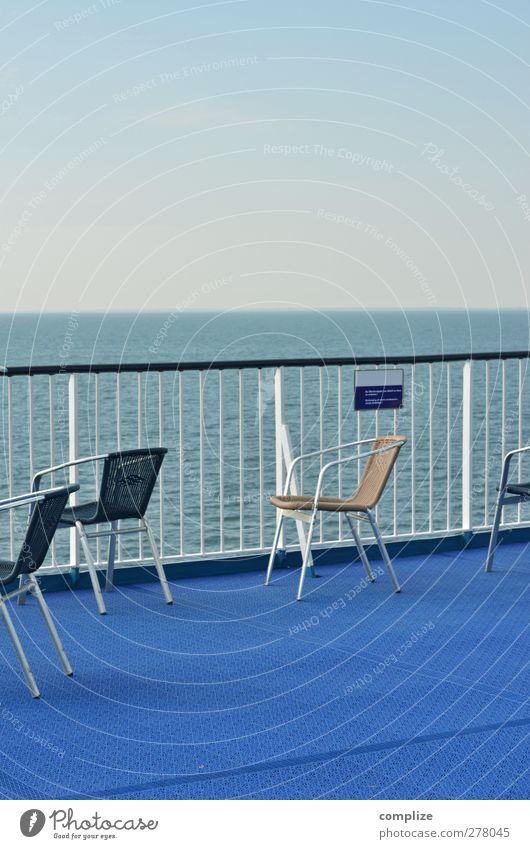 Blue Ocean Far-off places Sit Idyll Chair Vantage point Navigation Seating Cruise Deck Railing Steamer Boating trip Cruise liner Passenger ship