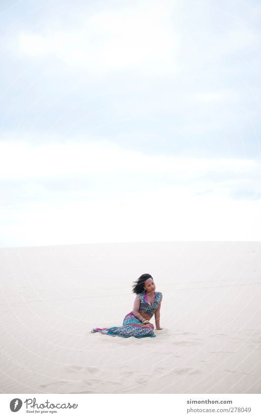 Human being Nature Vacation & Travel Summer Sun Ocean Beach Loneliness Clouds Landscape Far-off places Environment Feminine Warmth Freedom Sand