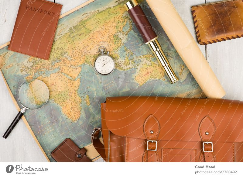 geographic map, passport, bag, magnifying glass, purse, spyglass Vacation & Travel Old Summer White Street Lifestyle Wood Tourism Earth Trip Leisure and hobbies