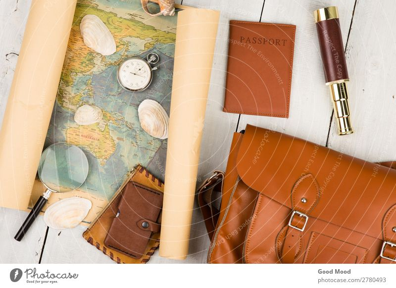 geographic map, passport, bag, magnifying glass, stopwatch Vacation & Travel Old Summer White Street Lifestyle Wood Tourism Earth Trip Leisure and hobbies Retro