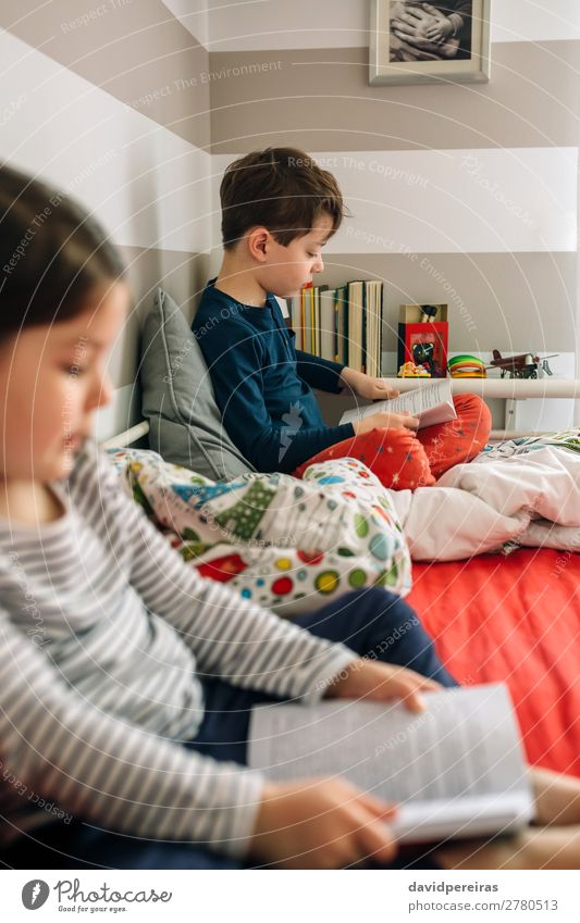 Boy and girl reading a book Lifestyle Beautiful Calm Reading Bedroom Child School Human being Boy (child) Woman Adults Man Sister Family & Relations Friendship