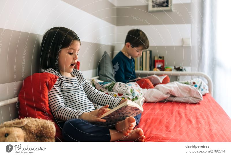 Girl and boy reading a book Lifestyle Beautiful Calm Reading Bedroom Child School Human being Boy (child) Woman Adults Man Sister Infancy Book Dog Toys