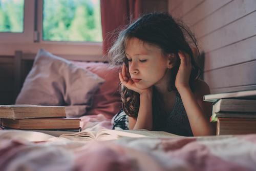thoughtful kid girl reading book alone Child Loneliness Lifestyle School Communicate Infancy Book Reading Mysterious Intellect Social Awareness Problem