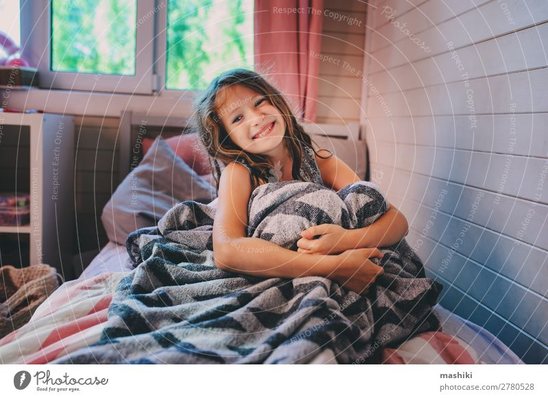 happy kid girl waking up in early morning Lifestyle Happy Relaxation Playing Bedroom Child Schoolchild Infancy Laughter Sleep Dream Small Cute