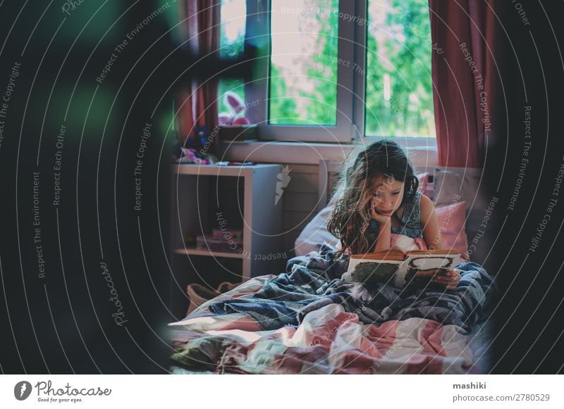 thoughtful kid girl reading book alone Lifestyle Reading Child School Infancy Book Communicate Loneliness Mysterious autism Untidy health care education