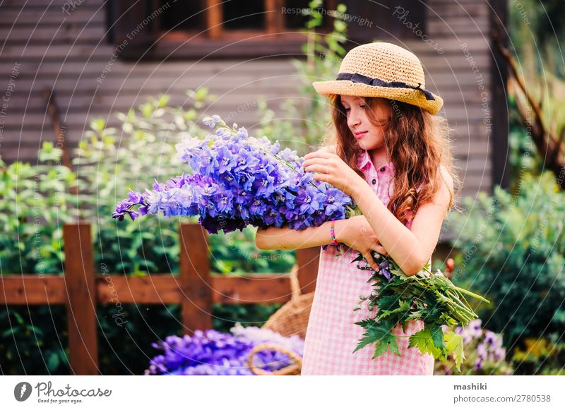 romantic portrait of happy child girl picking bouquet Happy Beautiful Playing Summer House (Residential Structure) Garden Decoration Child Gardening Nature