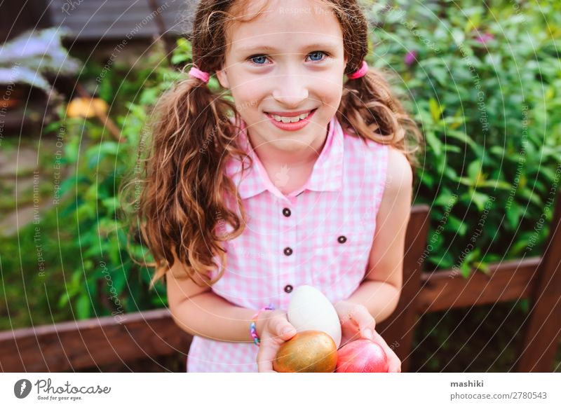 easter portrait of happy child girl Joy Happy Playing Hunting House (Residential Structure) Garden Feasts & Celebrations Easter Child Family & Relations Infancy