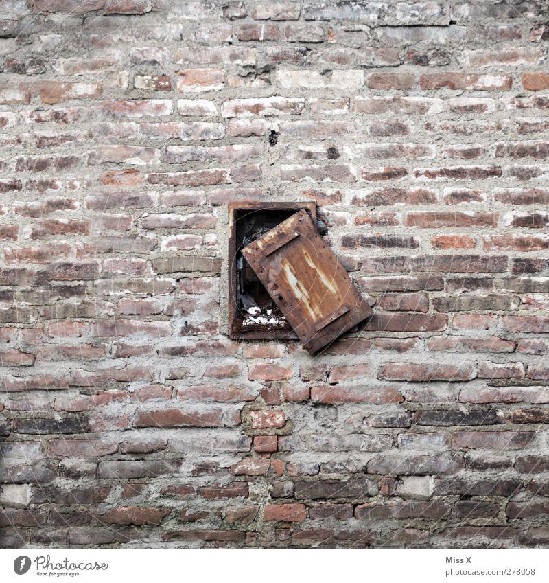 24/7 open Building Wall (barrier) Wall (building) Window Door Hang Old Broken Decline Transience Open Shutter Rust Brick wall City wall Colour photo