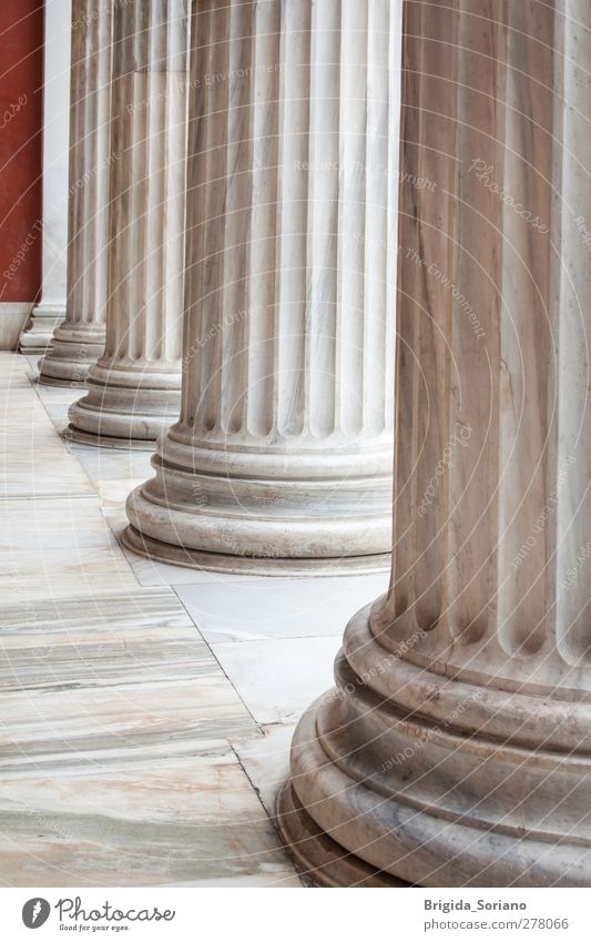 Classical Greek columns in a row Museum Architecture Capital city Monument Gray White Esthetic Vacation & Travel Culture Art Column Athens Greece neoclassical