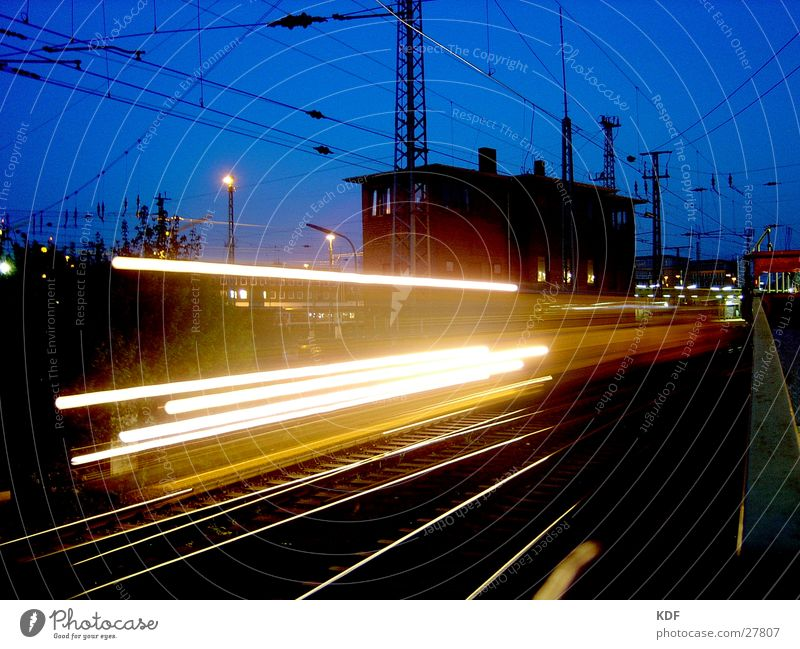 train Long exposure Bremen Railroad Light Yellow Black House (Residential Structure) Railroad tracks Speed Overhead line Evening KDF Train station
