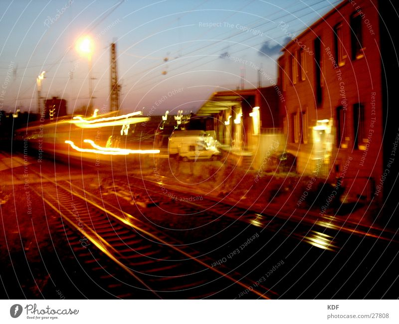 train scene Night Long exposure Railroad Bremen Railroad tracks Yellow Sunset Speed Evening Light db Train station KDF Shadow Blur