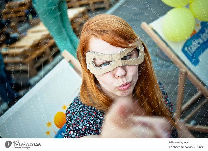 Be careful, scoundrels! Hallowe'en Feminine Young woman Youth (Young adults) Woman Adults 1 Human being 18 - 30 years Mask Brash Nerdy Retro Crazy Protection