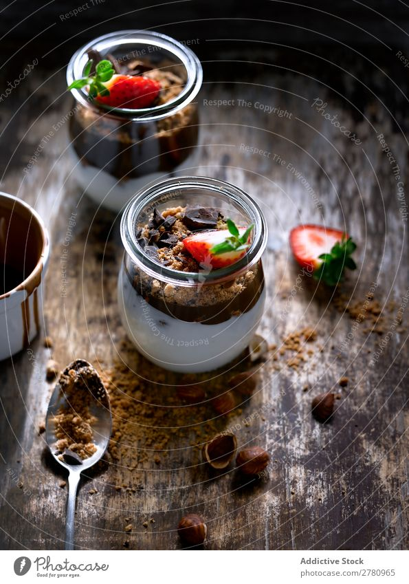 Jar with strawberry and chocolate jar Chocolate Breakfast Strawberry Hazelnut leaf served Food Creamy Fruit Glass Dairy Fresh Organic Tasty Dessert Sweet
