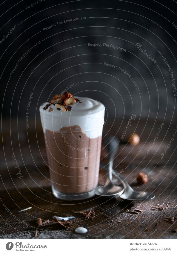 Sweet chocolate smoothie with ice-cream Milkshake Chocolate Cold Drinking Beverage Glass Arrangement Fresh Creamy Delicious Dairy Tasty composition Snack Frozen