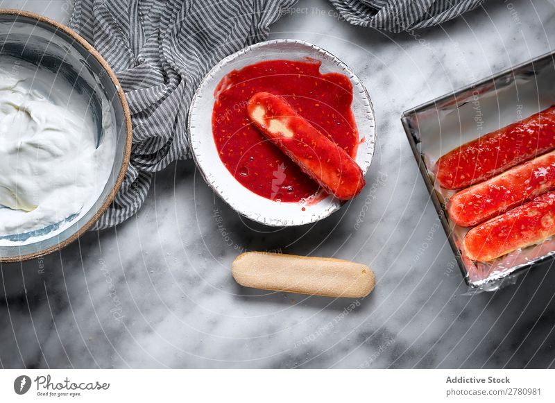 Crop person making raspberry biscuits Cooking Raspberry Jam dipping Sweet Red composition marmalade Fruit Cake Baking Healthy Fresh Cookie Natural Home-made