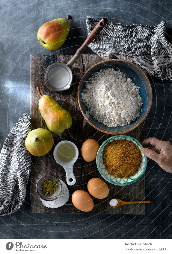Cooking cake with fresh pears Cake Ingredients recipe Pear products Mix Dessert Preparation Rustic Kitchen Conceptual design Food Bakery Healthy Table Sweet