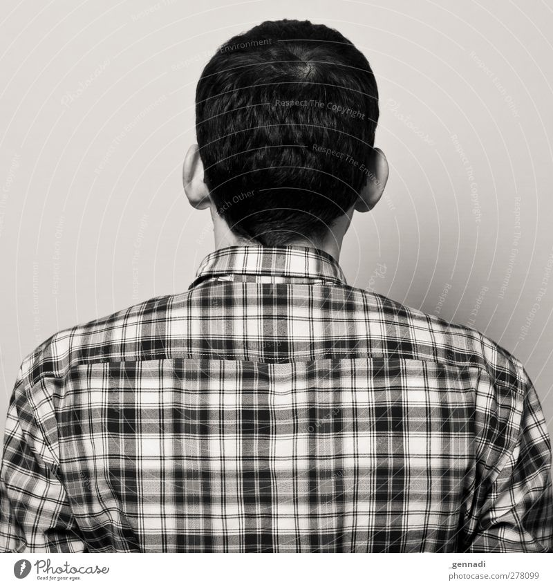 2 Human being Masculine Young man Youth (Young adults) Man Adults Body Back 1 18 - 30 years Wait Checkered Bleak Rear view Black & white photo Artificial light