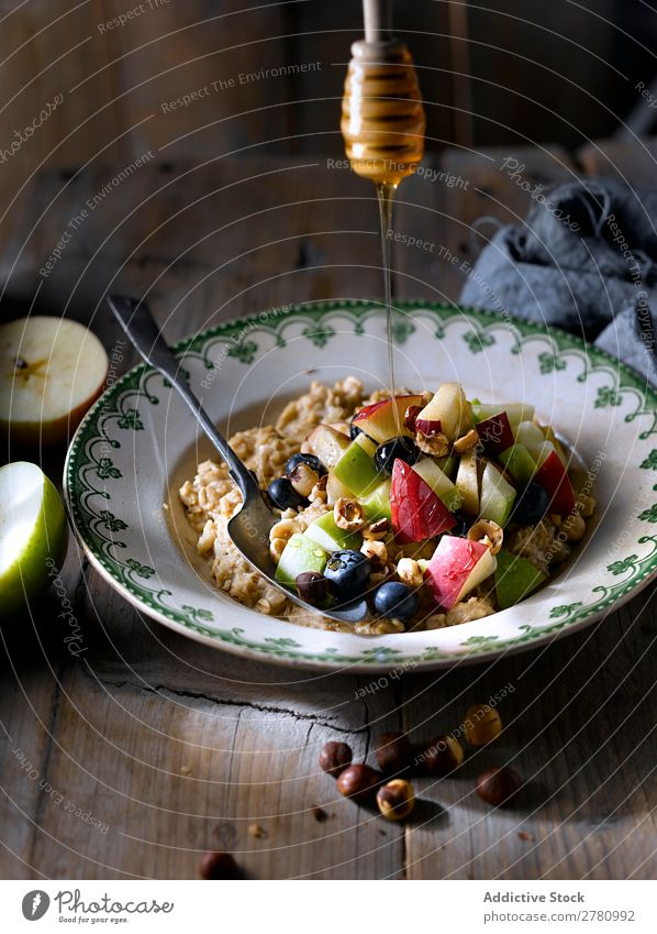 Oatmeal with fresh fruit mix Nut Fruit Healthy Morning Apple Energy Cowberry Gourmet