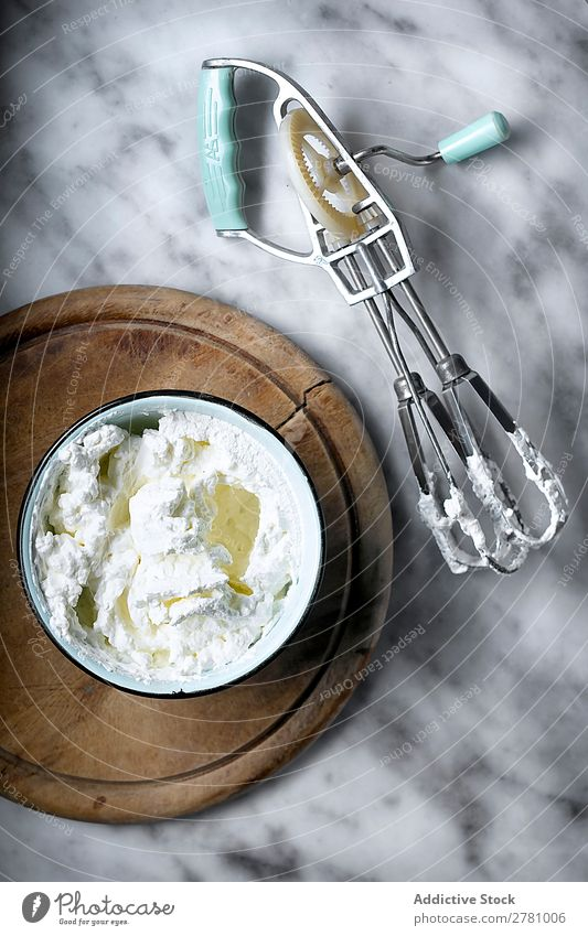From above of whipped cream in bowl Cream Bowl Rustic Cooking Delicious instrument Cool (slang) Tool Dessert Kitchen Table Healthy Milk White Food Ingredients