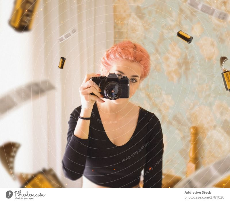 young girl with pink hair taking photo using film camera Camera Woman Photography Portrait photograph Film Looking into the camera Horizontal Abstract Flying