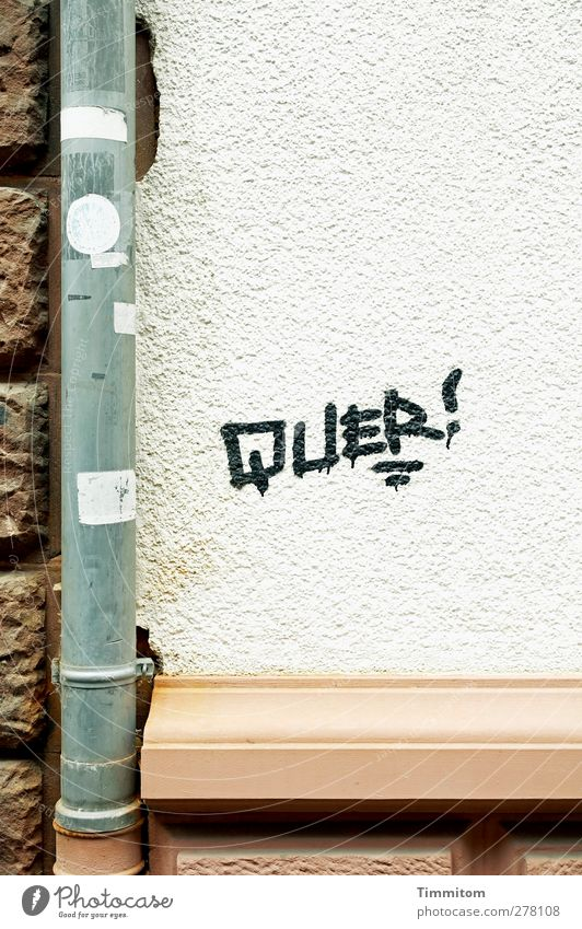 QUER! Heidelberg House (Residential Structure) Wall (barrier) Wall (building) Stone Metal Graffiti Brown Gray White mason's ledge Downspout Across Label