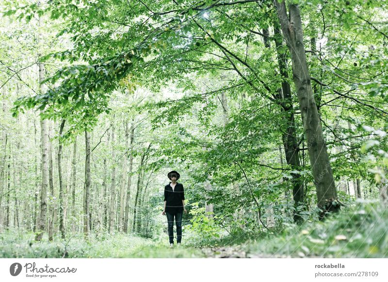 Woman in the forest Feminine Adults 1 Human being 18 - 30 years Youth (Young adults) Hat Elegant Loneliness Green Forest Nature Colour photo Exterior shot