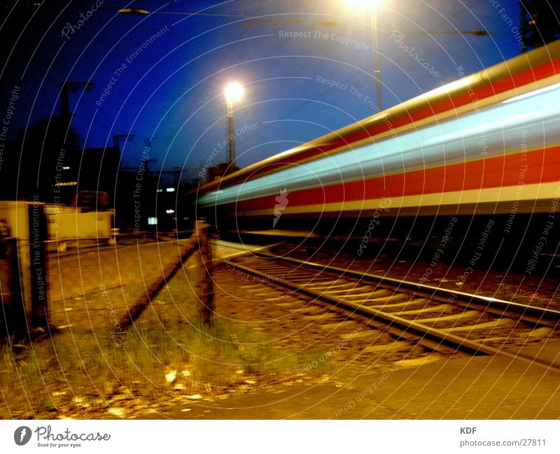 Colour Lamp Autumn Movement Bright Railroad Speed Railroad tracks Train station Dusk Bremen Railroad crossing
