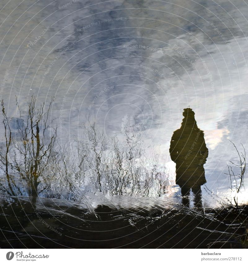 Ballad from the fisherman Feminine Woman Adults 1 Human being Elements Water Sky Bushes Pond Lake Observe Movement Stand Wait Dark Blue Black White Moody