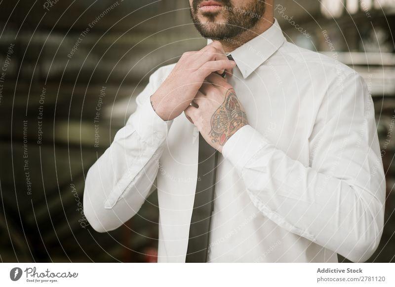 Crop man adjusting tie Man Style Adults Fashion Tie Adjust Human being