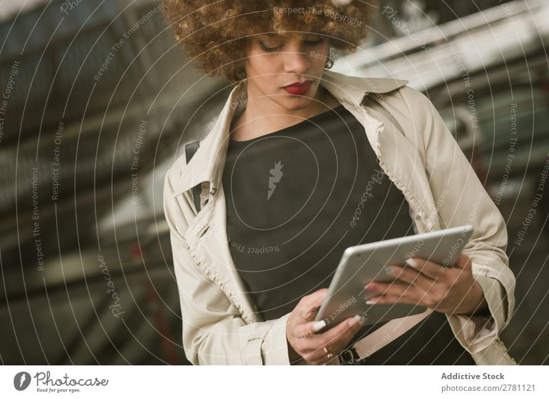 Attractive woman standing with tablet Woman Style Adults Hair and hairstyles Blonde Tablet computer Digital Gadget