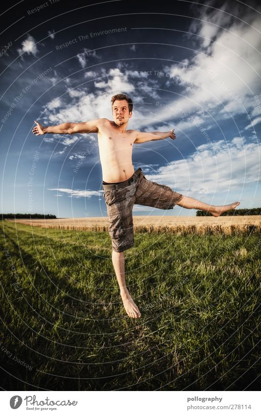 Human being Sky Nature Man Youth (Young adults) Summer Plant Clouds Adults Landscape Meadow Life Emotions Jump Young man Horizon
