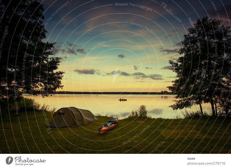 At the end of the day. Calm Leisure and hobbies Vacation & Travel Trip Adventure Camping Summer Summer vacation Aquatics Environment Nature Water Sky Clouds
