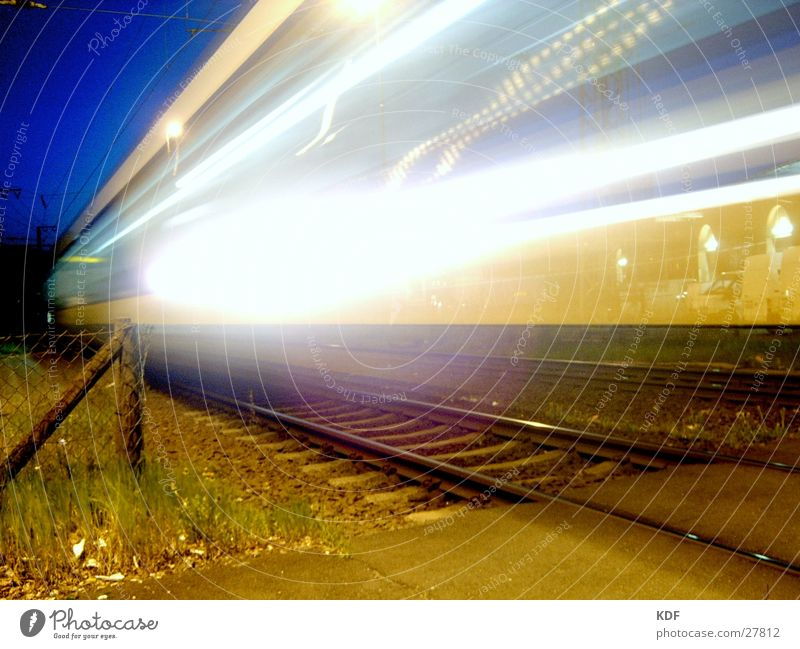 metronome Railroad Bremen Light Train station Night Long exposure Stripe Speed Evening Arrival Night journey Dangerous db KDF rails Dusk