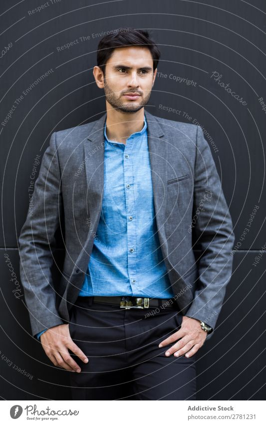 Elegant Young Businessman in the Street Man Fashion handsome Youth (Young adults) Looking Model Human being Background picture Suit Modern Executive
