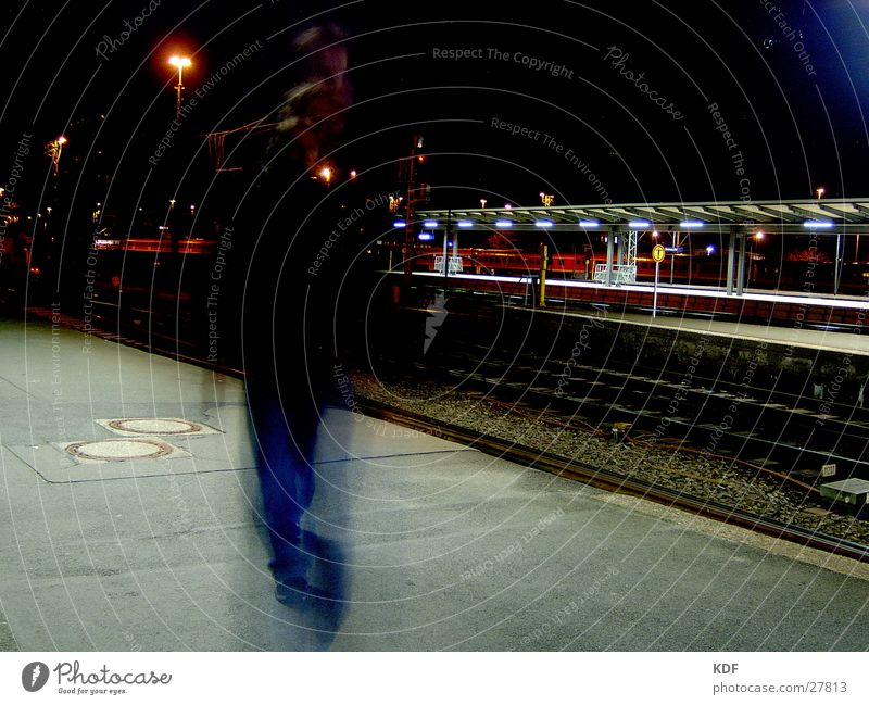 Movement at the station Night Long exposure Bremen Railroad Platform Lantern KDF Train station Central station Human being Evening Light Passenger