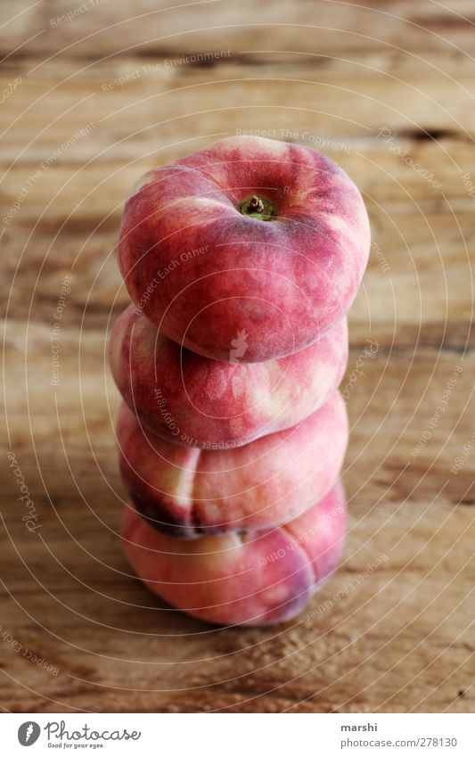 flat uprising Food Fruit Nutrition Eating Red Peach Stack 4 Level plate peaches Wooden table Food photograph Delicious Tasty Colour photo Interior shot Detail